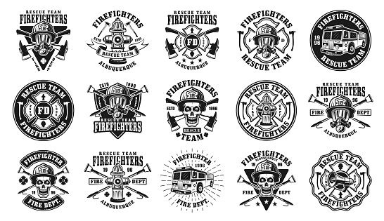 Firefighters big set of fifteen vector isolated emblems, badges, labels or emblems in vintage black and white style
