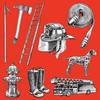 Firefighters Equipment - Hook and Ladder, Hose, Fire Engine