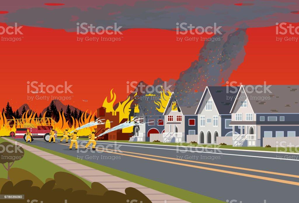 Brandweerlieden blussen stad. Concept bosbrand. - Royalty-free Achtergrond - Thema vectorkunst