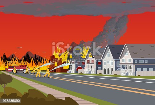 Firefighters Extinguish Town. Concept Forest Fire.