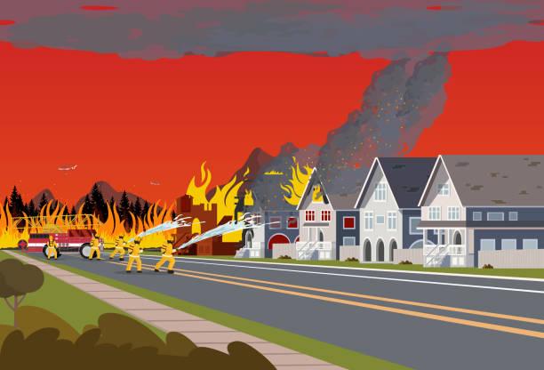 stockillustraties, clipart, cartoons en iconen met brandweerlieden blussen stad. concept bosbrand. - illustraties van bosbrand