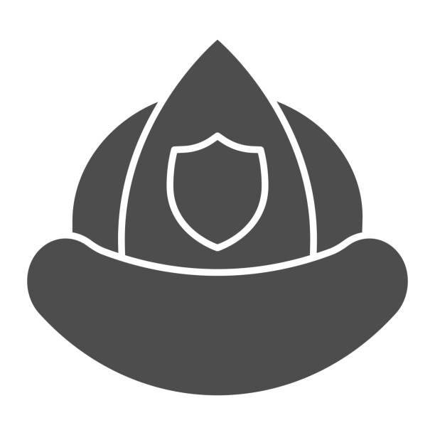 소방관 헬멧 솔리드 아이콘입니다. 흰색 배경에 방패 엠블럼 문양 스타일 그림과 소방관 보호 모자. 모바일 개념 및 웹 디자인을 위한 소방 표지판. 벡터 그래픽. - 모자 모자류 stock illustrations