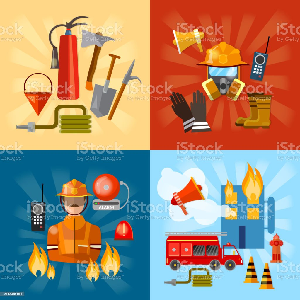 Firefighters set fire station fire vector art illustration