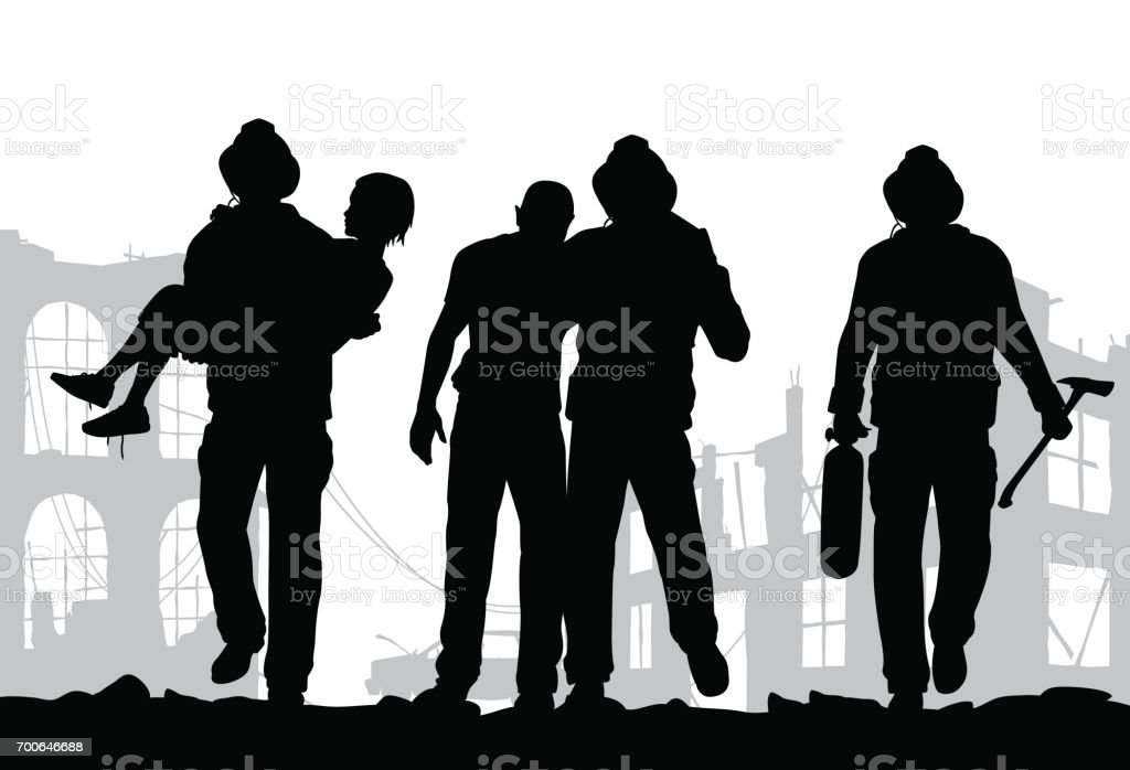 Firefighters silhouette vector art illustration