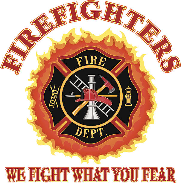 """Firefighters We Fight What You Fear Fire department or firefighter Maltese cross symbol design with flames and """"We Fight What You Fear"""" slogan. Includes firefighter tools symbol. maltese cross stock illustrations"""