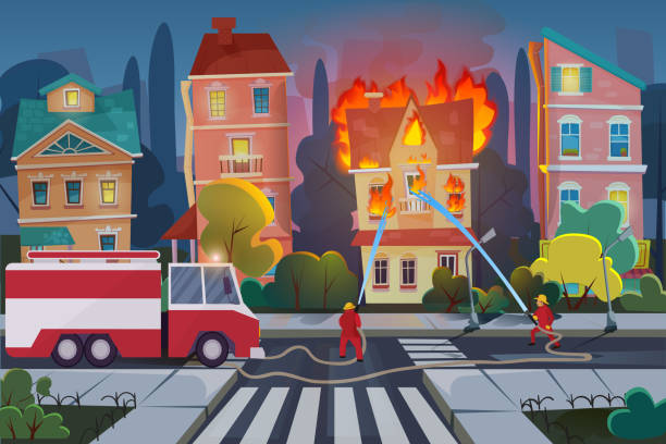 bildbanksillustrationer, clip art samt tecknat material och ikoner med brand män med motor brand bil släcka borgerligt hus i stan. natur katastrof koncept tecknad vektor illustration. - house after fire