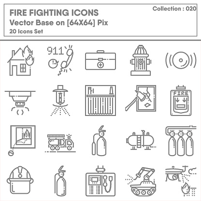 Firefighting and Fire Protection System Safety Icon Set, Firefighter Equipment Tools for Building Fire Prevention Systems. Accident Security Department Symbol Icons Design. Emergency Crisis