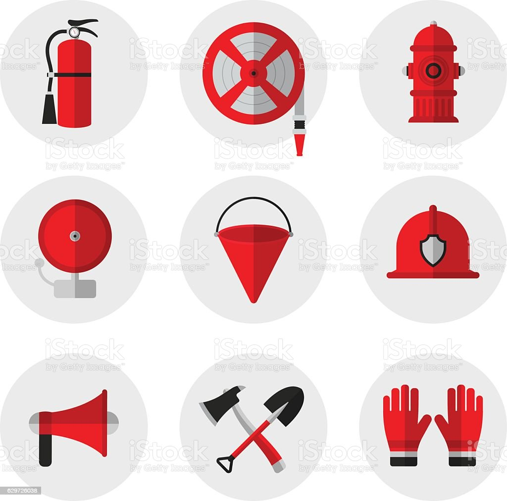 Firefighting And Fire Safety Equipment Flat Icons Stock Vector Art
