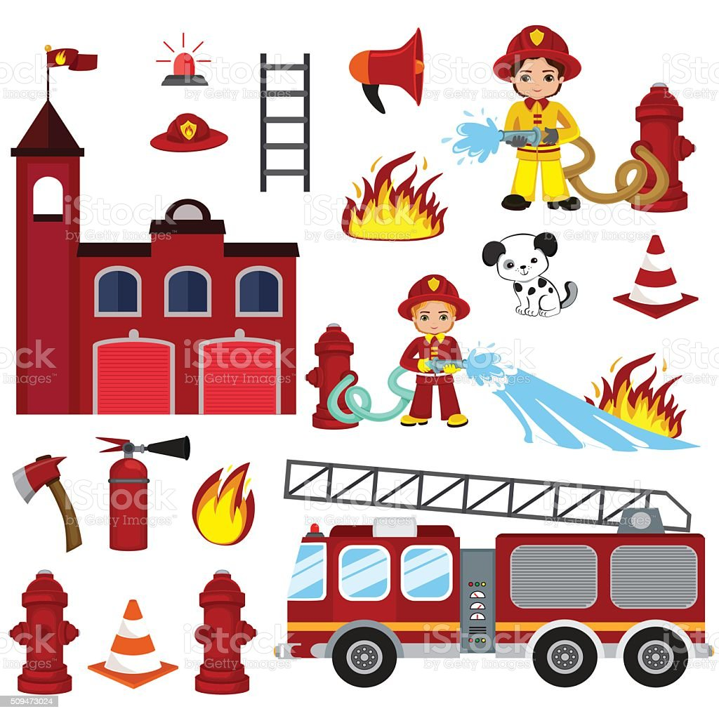 firefighting characters, hose, fire station, fire engine, fire alarm, extinguisher. vector art illustration