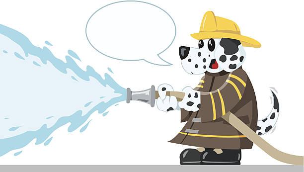 Firefighting Dog Cute Dalmatian putting out a fire fire hose stock illustrations
