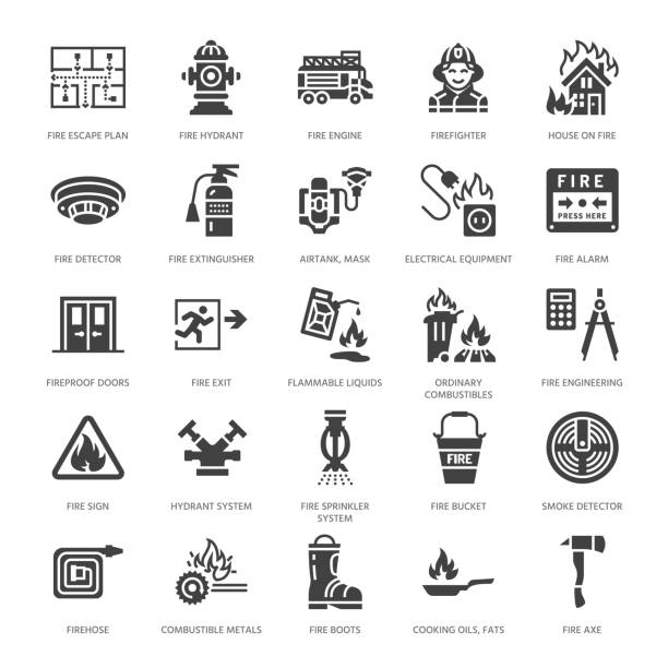 Firefighting, fire safety equipment flat glyph icons. Firefighter car, extinguisher, smoke detector, house, danger signs, firehose. Flame protection pictogram. Solid silhouette pixel perfect 64x64 Firefighting, fire safety equipment flat glyph icons. Firefighter car, extinguisher, smoke detector, house, danger signs, firehose. Flame protection pictogram. Solid silhouette pixel perfect 64x64. fire hose stock illustrations