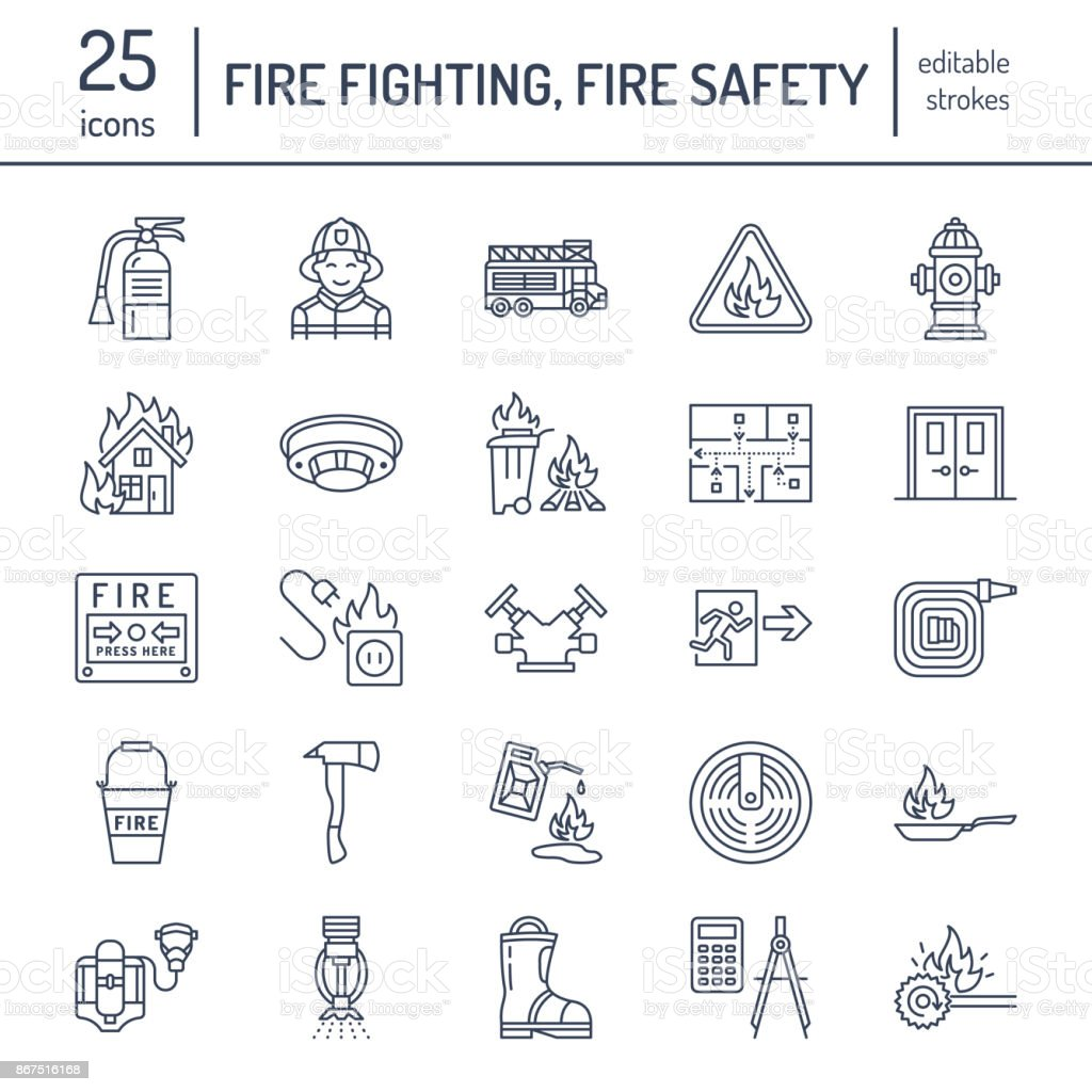 Firefighting, fire safety equipment flat line icons. Firefighter, fire engine extinguisher, smoke detector, house, danger signs, firehose. Flame protection thin linear pictogram vector art illustration
