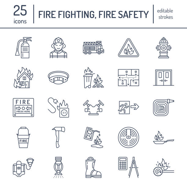 Firefighting, fire safety equipment flat line icons. Firefighter, fire engine extinguisher, smoke detector, house, danger signs, firehose. Flame protection thin linear pictogram Firefighting, fire safety equipment flat line icons. Firefighter, fire engine extinguisher, smoke detector, house, danger signs, firehose. Flame protection thin linear pictogram. fire hose stock illustrations