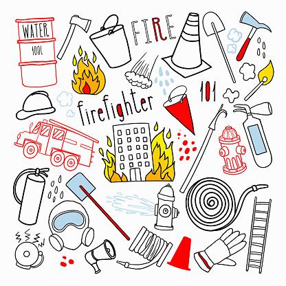 Firefighting Hand Drawn Doodle. Firefighter, Fireman, Emergency Elements Set