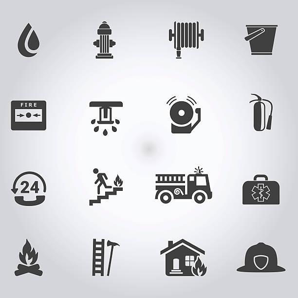 brandschutzmaßnahmen und feuerwehr symbole, schwarz - fallrohr stock-grafiken, -clipart, -cartoons und -symbole