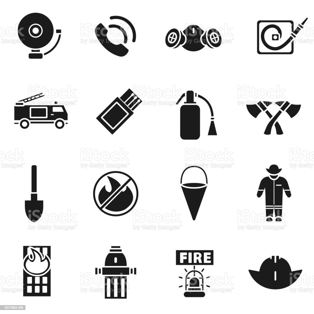 Firefighting  icons set. vector art illustration