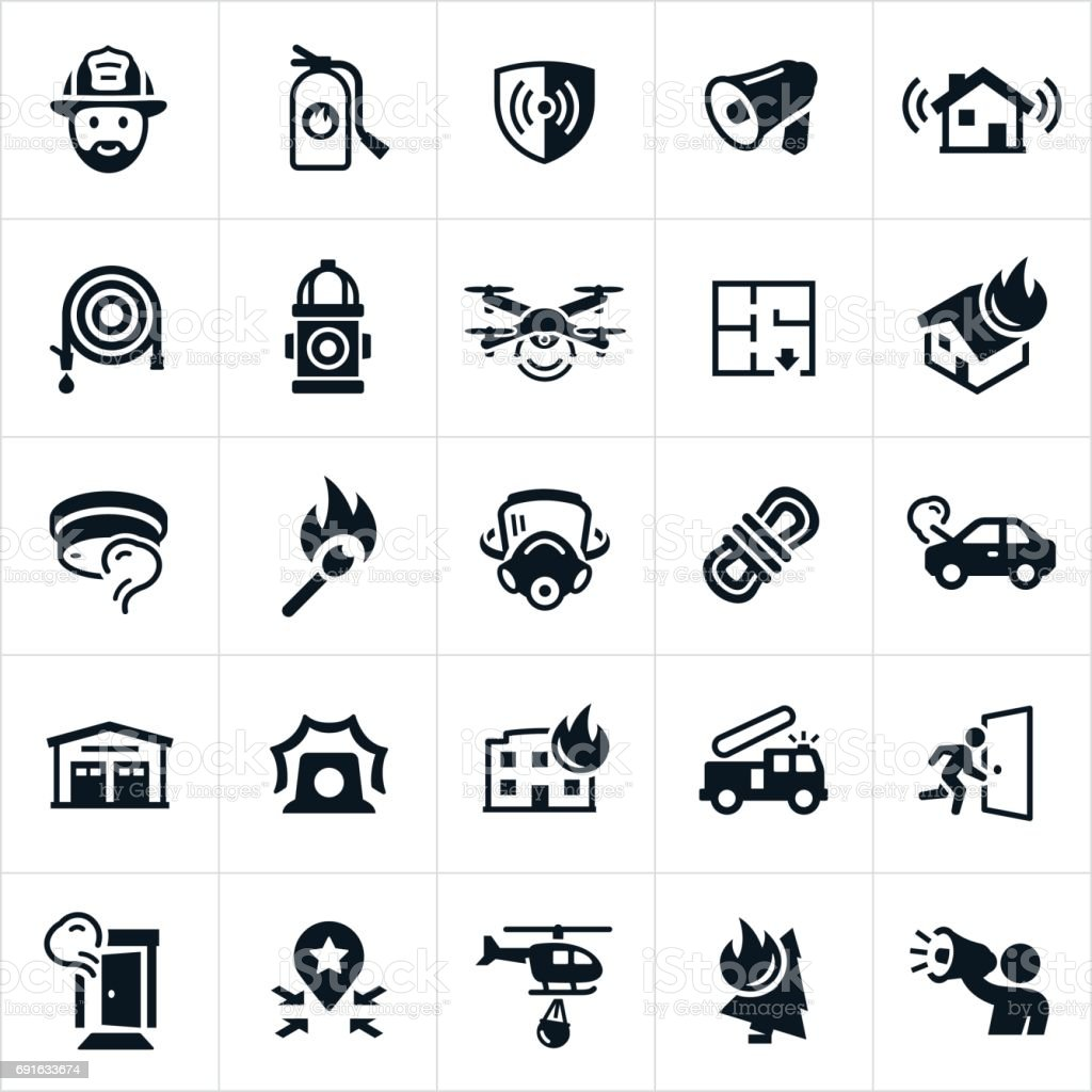 Firefighting Icons vector art illustration