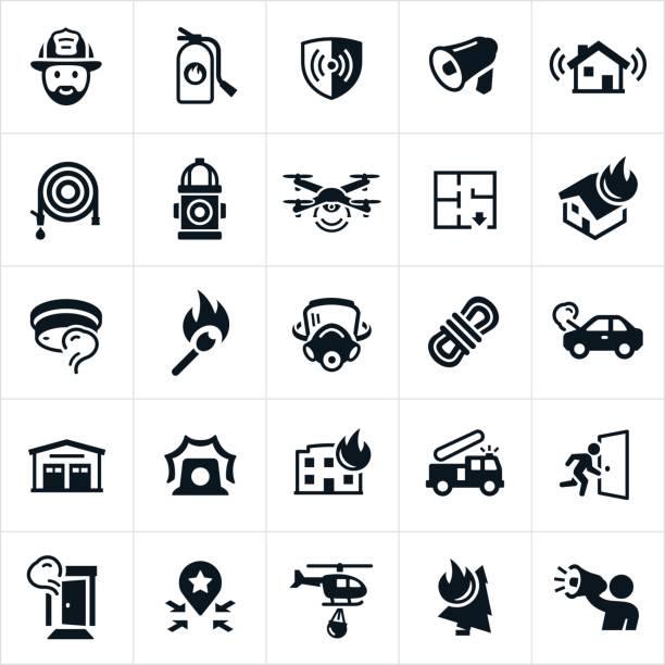 ilustraciones, imágenes clip art, dibujos animados e iconos de stock de iconos de la lucha contra el fuego - bombero