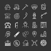 Firefighting chalk icons set. Vector