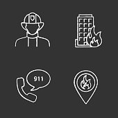 Firefighting chalk icons set. Vector. Firefighter, fire location, burning house, emergency call