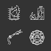Firefighting chalk icons set. Vector. House on fire, firefighters badge, garden hose, emergency exit