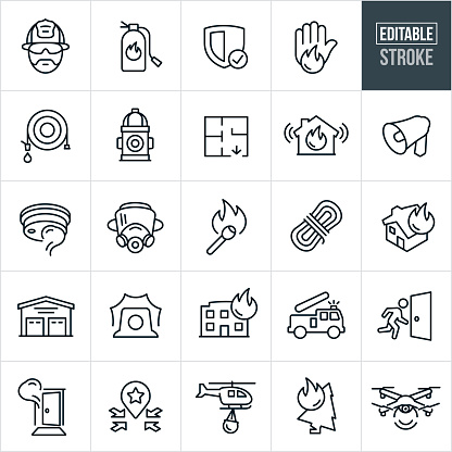 Firefighting Line Icons - Editable Stroke