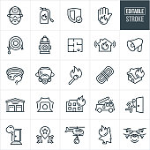 A set firefighting icons that include editable strokes or outlines using the EPS vector file. The icons include a fireman, fire extinguisher, fire, house fire, building fire, bullhorn, fire alarm, smoke detector, fire hose, match stick, gas mask, rope, fire station, siren, firetruck, exit, forest fire, helicopter and drone to name a few.