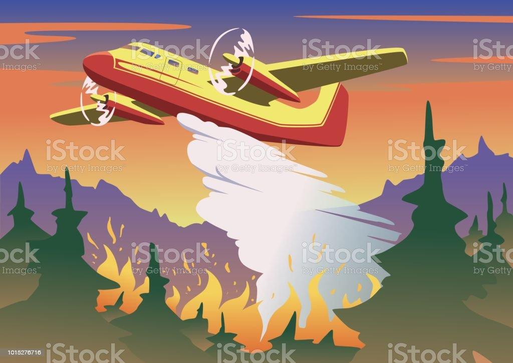 Brandbestrijding vliegtuig dropping water boven het verbranden van bos. Luchtfoto brandbestrijding en wildvuur concept in kleur. Platte vectorillustratie. Horizontaal. - Royalty-free Aerial Firefighting vectorkunst