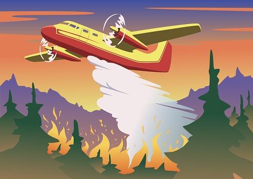 Brandbestrijding Vliegtuig Dropping Water Boven Het Verbranden Van Bos Luchtfoto Brandbestrijding En Wildvuur Concept In Kleur Platte Vectorillustratie Horizontaal Stockvectorkunst en meer beelden van Aerial Firefighting