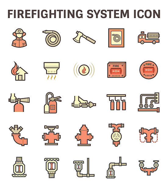 firefighting system icon - sicherheitsventil stock-grafiken, -clipart, -cartoons und -symbole
