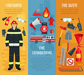 Firefighting vector banners set of fireman tools