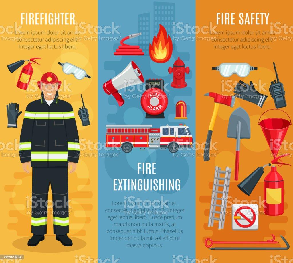 Firefighting vector banners set of fireman tools vector art illustration