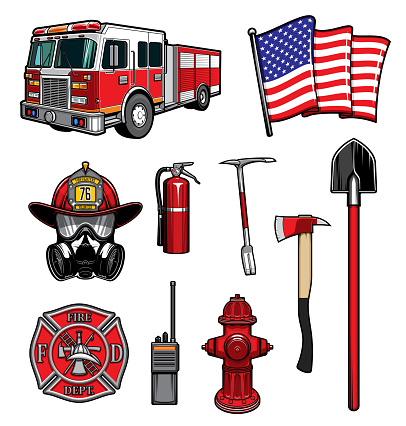 Firefighting vector icons firefighter labels set
