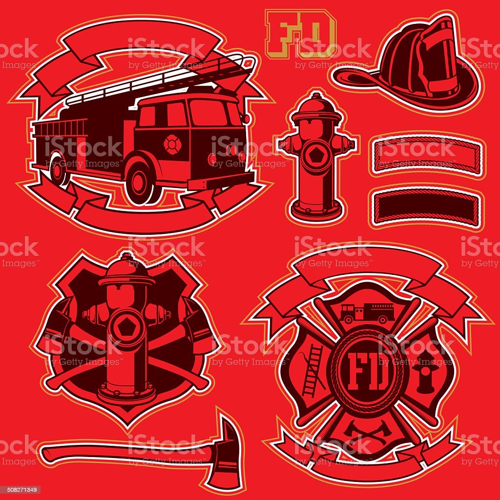 FireFigthers vector set vector art illustration