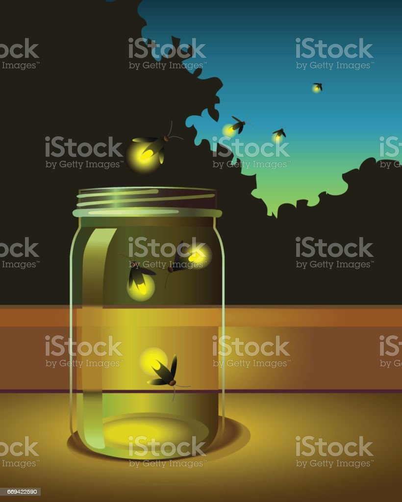 fireflies escaping from a glass jar into the night vector art illustration