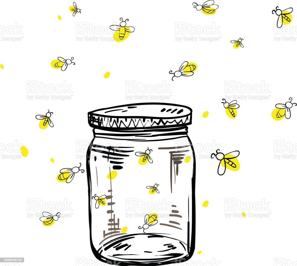Fireflies Flying Around The Jar Stock Vector Art Amp More