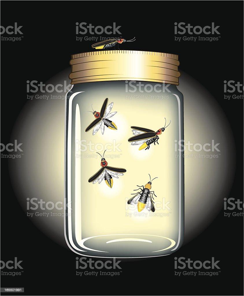 FireFlies in a Jar vector art illustration