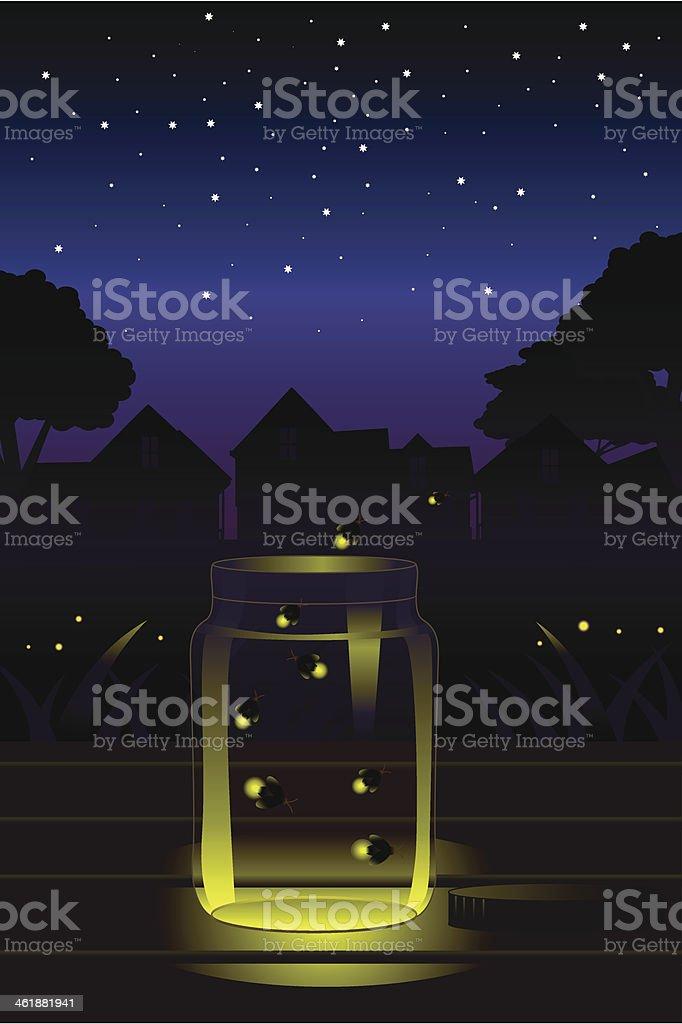 Fireflies in the jar vector art illustration