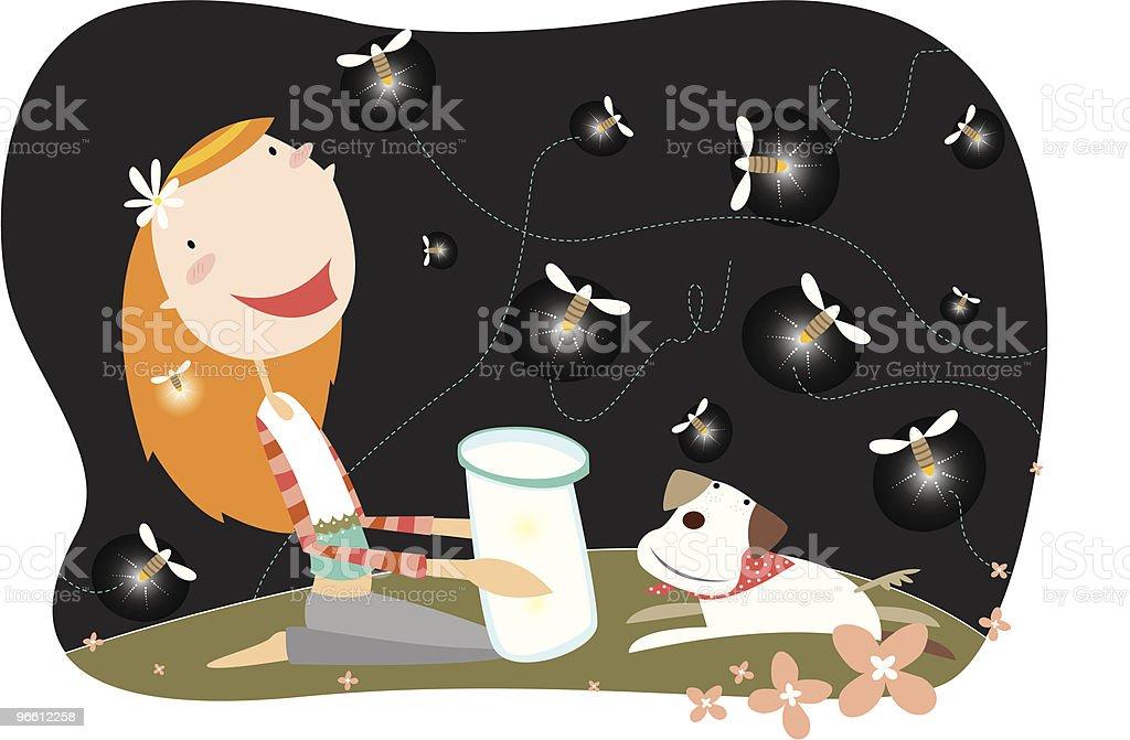 Fireflies Magic vector art illustration