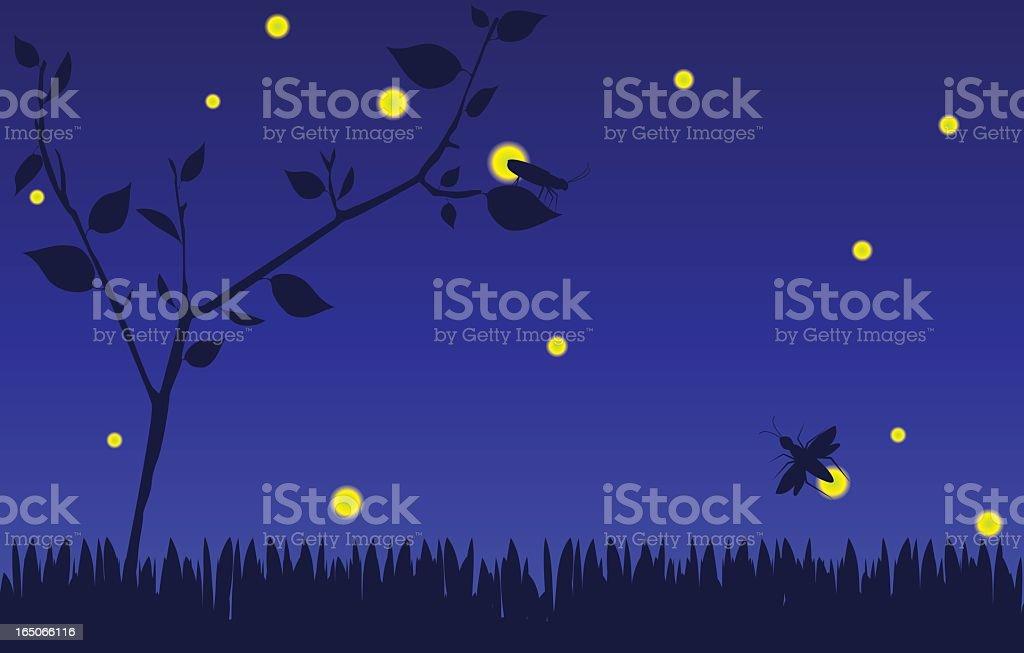 Fireflies (Silhouette) vector art illustration