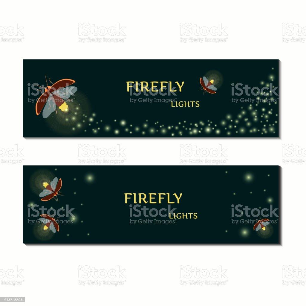 Firefly bug banner set vector art illustration