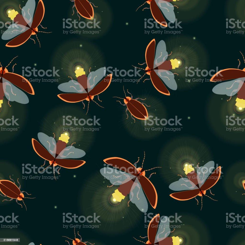 Firefly bug pattern vector art illustration