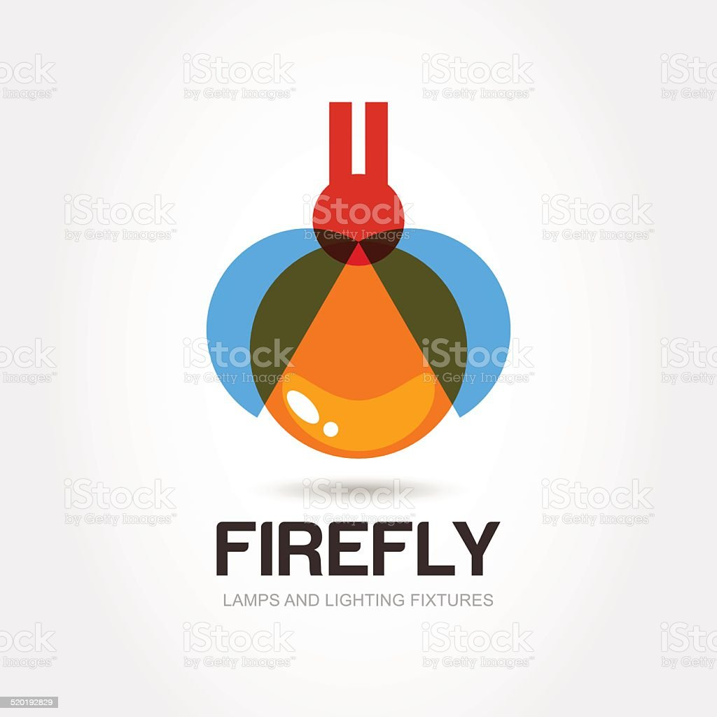firefly bug vector logo design template. Abstract colorful lamp icon. vector art illustration