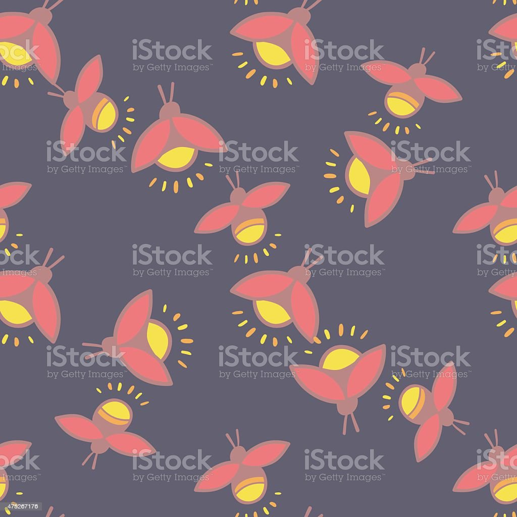 Firefly seamless vector pattern vector art illustration