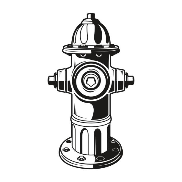 firehydrantmonochrome fire hydrant on the white background, monochrome style, vector fire hose stock illustrations