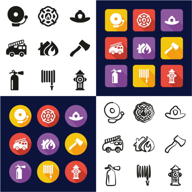 Fireman All in One Icons Black & White Color Flat Design Freehand Set This image is a vector illustration and can be scaled to any size without loss of resolution. maltese cross stock illustrations