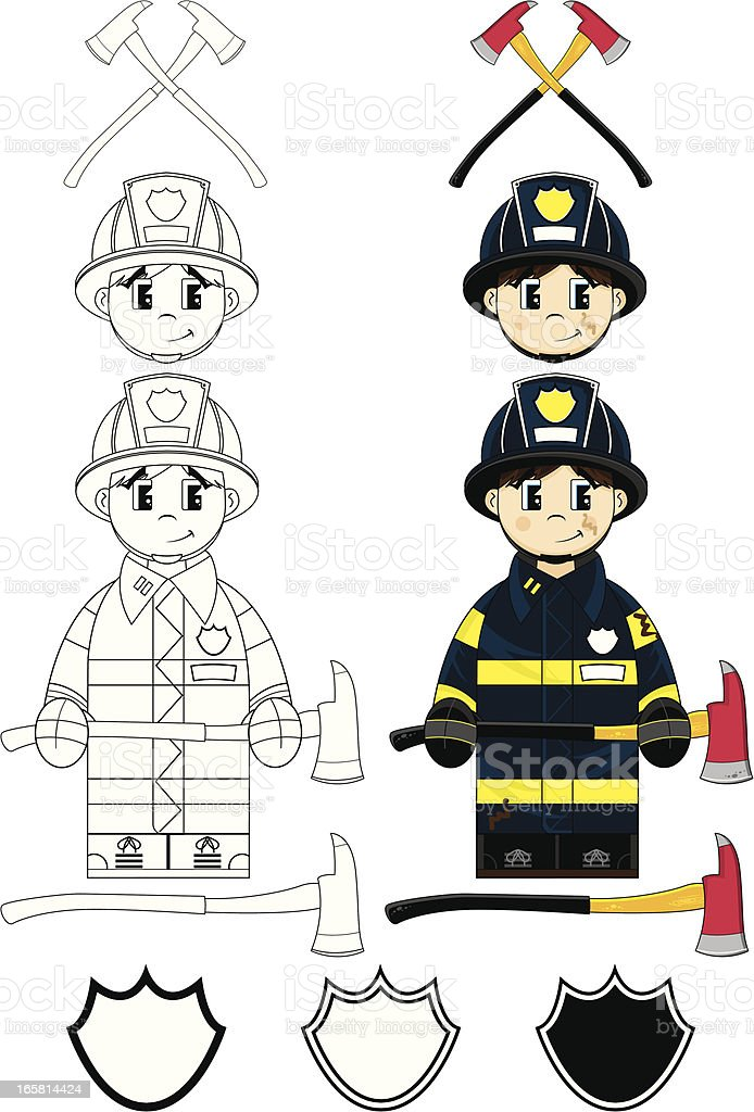 Feuerwehrmann Und Elemente Clip Art Stock Vektor Art Und Mehr Bilder