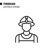 istock Fireman Avatar Line Icon, Outline Vector Symbol Illustration. Pixel Perfect, Editable Stroke. 1197691471
