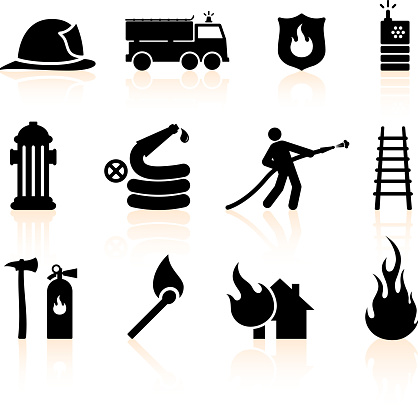 Fireman black and white royalty free vector icon set