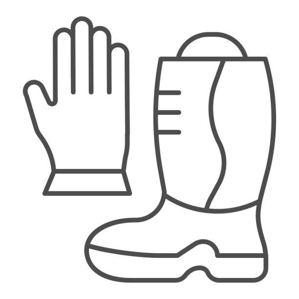소방관 부츠와 장갑 얇은 라인 아이콘입니다. 흰색 배경에 화재 방지 장비 개요 스타일 그림. 모바일 개념 및 웹 디자인을 위한 소방 표지판. 벡터 그래픽. - 모자 모자류 stock illustrations